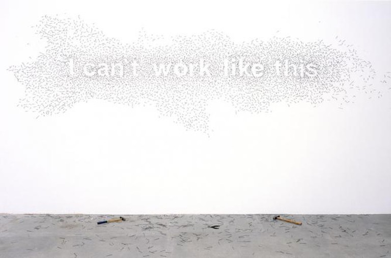 Natascha Sadr Haghighian, 'I can't work like this', 2007, wall installation, nails, two hammers/Photo courtesy the artist and Johann König Gallery, Berlin.