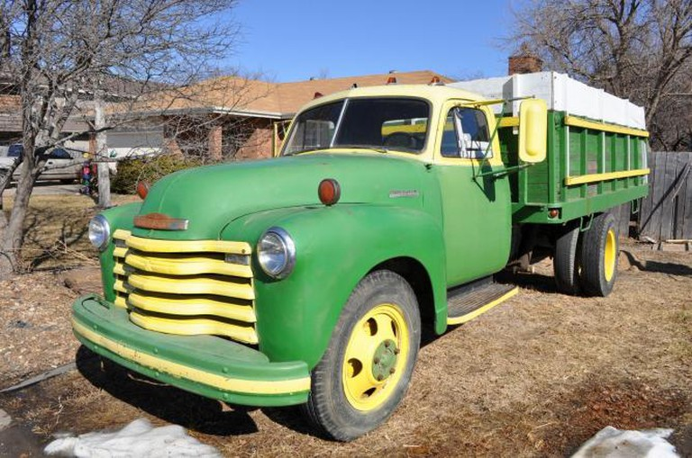 The cargo truck was fashioned from this 1952 Chevy grain truck