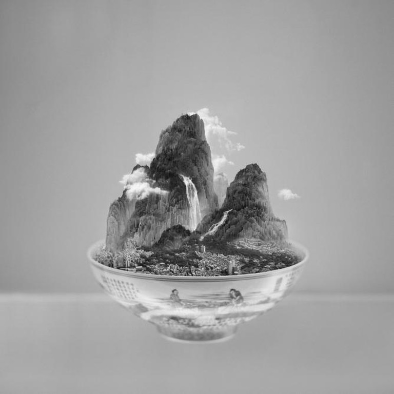 Yang Yongliang, A Bowl of Taipei No. 4, 39×39 inches, 2012, Courtesy of the artist and RH Contemporary Art