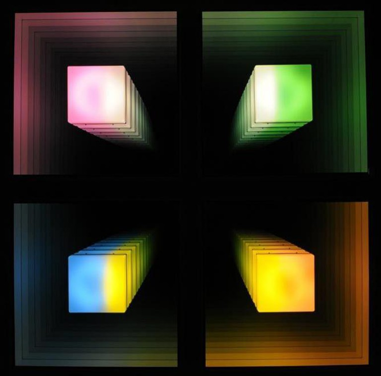 Chul Hyun Ahn, Visual Echo Experiment, 2011, Edition of 3 + 1AP, plywood, acrylic, fluorescent lights, mirrors, 91 x 91 x 5.5 inches | Courtesy of C. Grimaldis Gallery