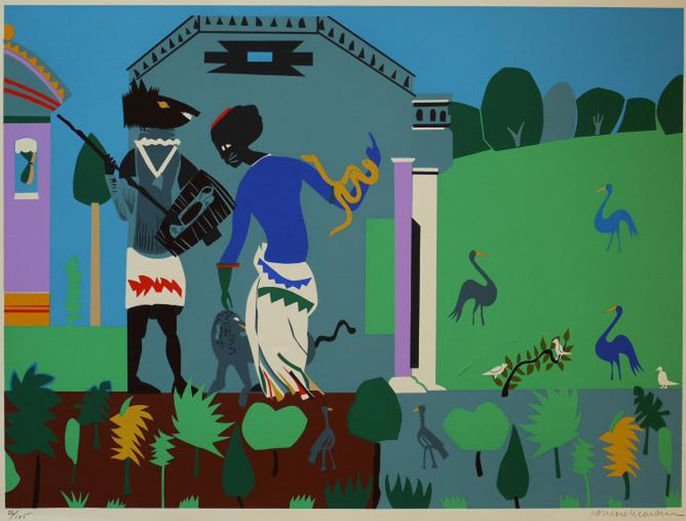 Romare Bearden, Circe Turns a Companion of Odysseus into a Swine, 1979, Silkscreen, 22 x 29.75 inches paper (cropped)