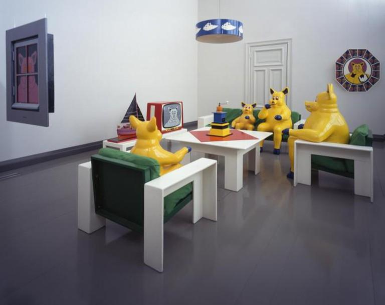 Harro Koskinen, The Pig Family, installation, Turku Art Museum, 1969