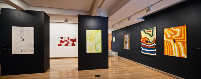 Installation view of Traversing Borders: Art from the Kimberley 2014, QUT