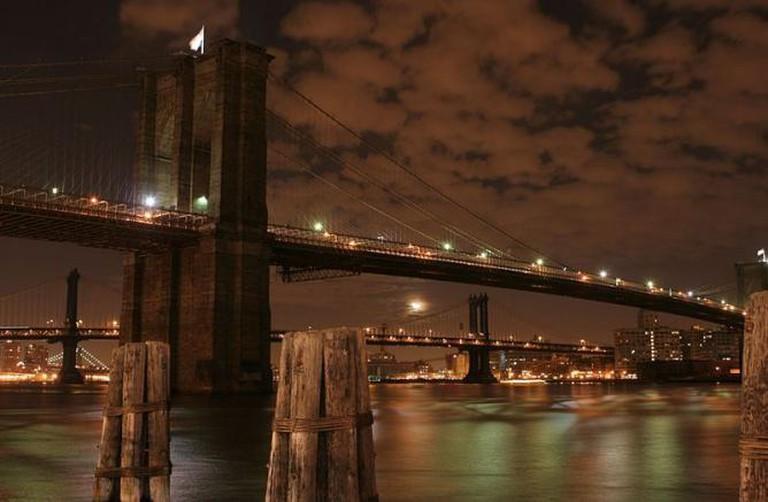 Brooklyn bridge at night, New York city, NY.