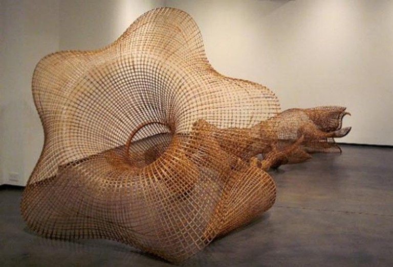 Sopheap Pich, Morning Glory, 2011, Rattan, bamboo, wire, plywood, and steel, 17 feet 6 inches × 103 inches × 74 inches (533.4 × 261.6 × 188 cm)