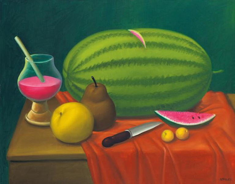 Fernando Botero, Still Life with Fruits, Oil on canvas, 78.1 x 99.1 cm, Rosenbaum Contemporary, 2003