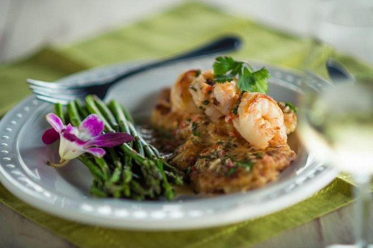 Southern Chicken Piccata with Jumbo Shrimp and Lemon Cherry Pepper Cilantro Beurre Blanc'