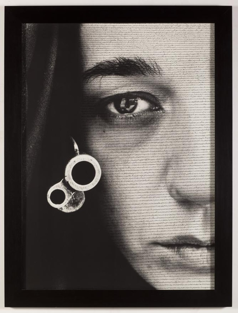 Speechless, 1996, Gelatin silver print and ink, Shirin Neshat.