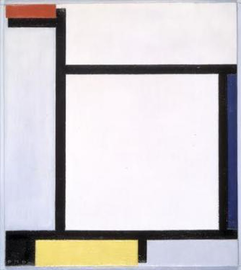 Piet Mondriaan, Compositie met rood, blauw, zwart, geel en grijs, olieverf op doek, 1921, 39,5 x 35 cm. Collectie Gemeentemuseum Den Haag