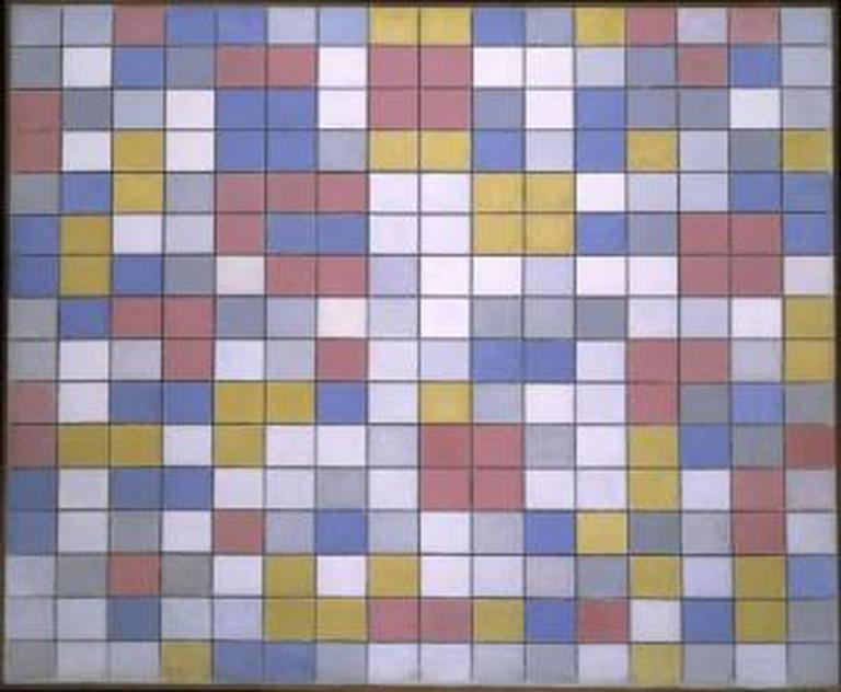 Piet Mondriaan, Rastercompositie 9: dambordcompositie heldere kleuren, 1919, olieverf op doek, 86 x 106 cm. Collectie Gemeentemuseum Den Haag