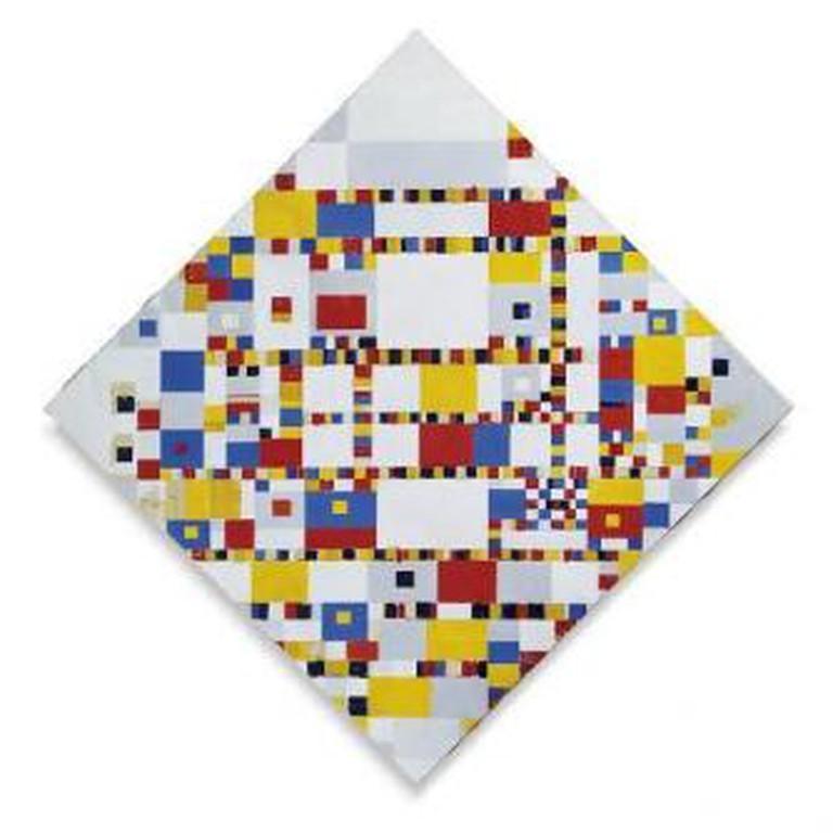 Piet Mondriaan, Victory Boogie Woogie, 1942-1944. Olieverf, stukjes papier en plastic en zwart krijt op doek, Bruikleen van ICN, Amsterdam. Door een gift van de Nederlandsche Bank verworven door de Stichting Nationaal Kunstbezit.