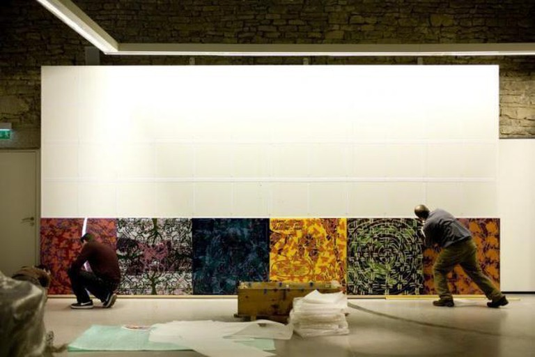 Installation of the show Nature, Cultures,The World's Origins, Farm of Flagey, Musée Courbet, France, 2012