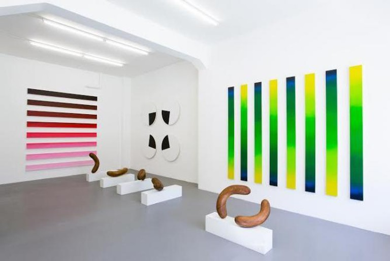 Installation view Claudia Comte If I where a rabbit, where would I keep my gloves?, 2014, BolteLang, Zurich