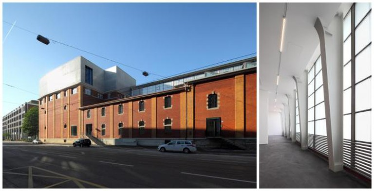 left to right: Löwenbräukunst – Entrance to Arts Center on Limmatstrasse, additional storey Kunsthalle Zürich; Löwenbräukunst – Kunsthalle Zürich exhibition space, former production hall