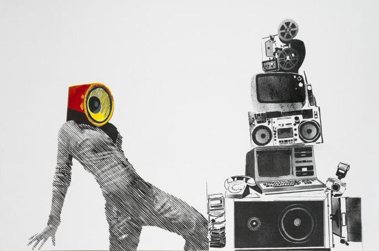 Khaled Takreti, 220 Volts, 2014, Acrylic on Canvas, 106 X 160 cm