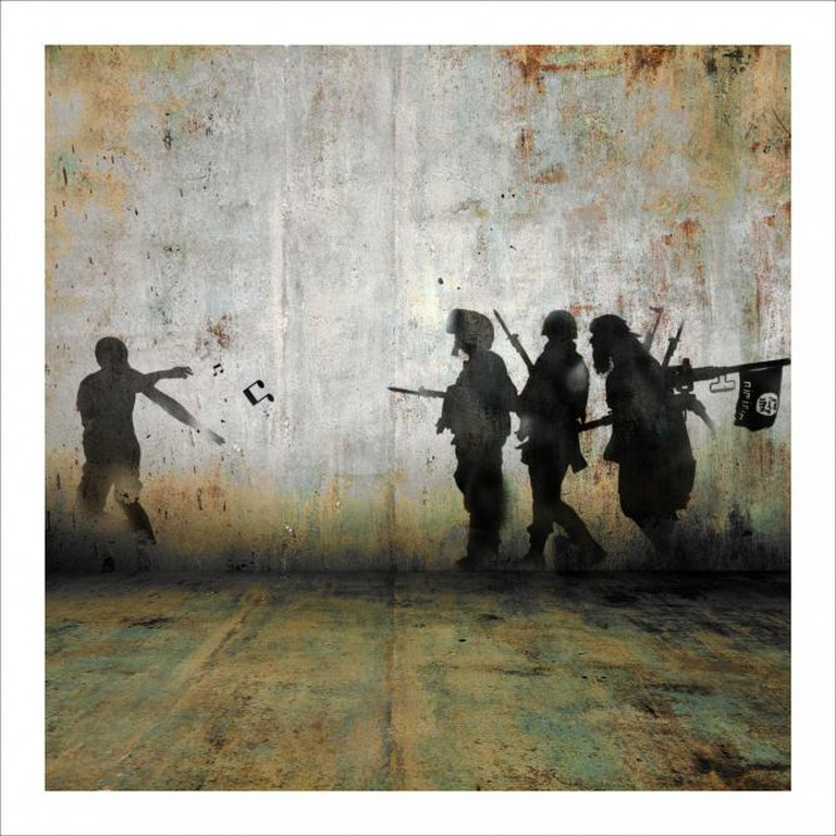 Tammam Azzam, Demonstration, 2013, Archival Print on Cotton Paper, 112 X 112 cm, Edition of 5
