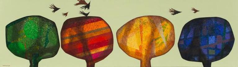 Nihad al-Turk, The Olive, 2013, Mixed Media on Canvas, 70 X 246 cm