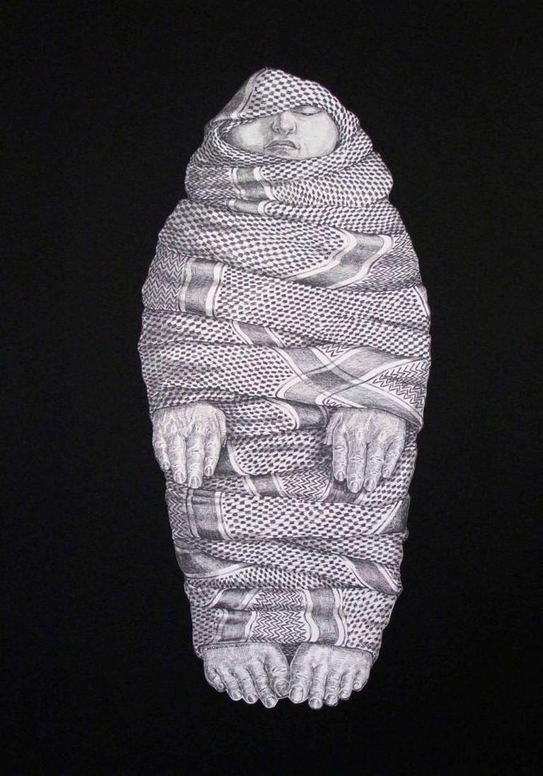Houmam Al Sayed, Moukaffan, 2014, Ink on paper, 110 x 80 cm