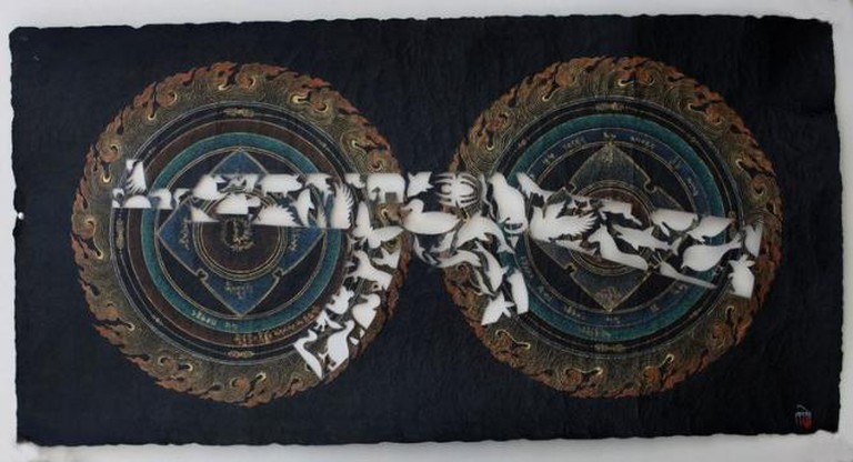 Gade, Black Scripture Series: 11, 2012, acrylic, mineral and vegetable pigments on handmade Tibetan paper, 59 x 115 cm