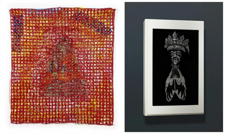 left to right: Kesang Lamdark, Burning Buddha, 2013, PVC, 145 x 125 x 3 cm
