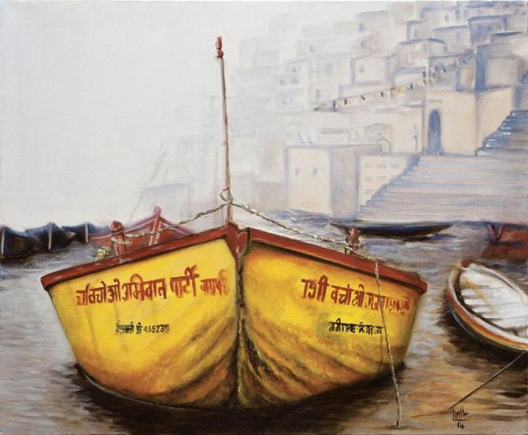 Julliette Thomson - Yellow Indian Boat | Image Courtesy of Al Madina Art Gallery