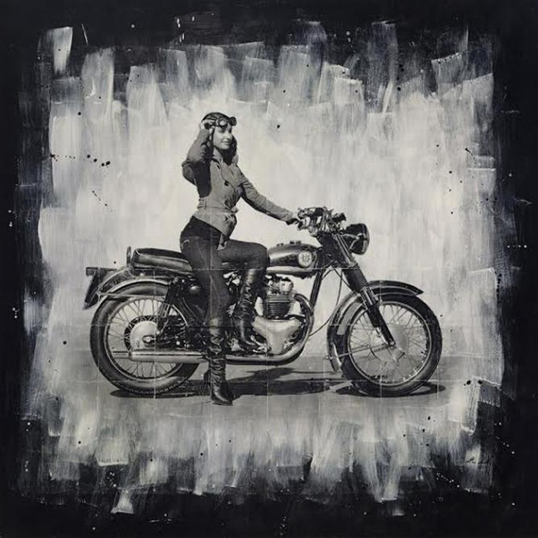 Dime on a Bike by Davin Lavikka | Photography Mixed With Painting.. A carbon image transfer between layers of acrylic paint. This mixed media work creates a play on texture as the painted highlights come through on the photographic layer . 48inx48in