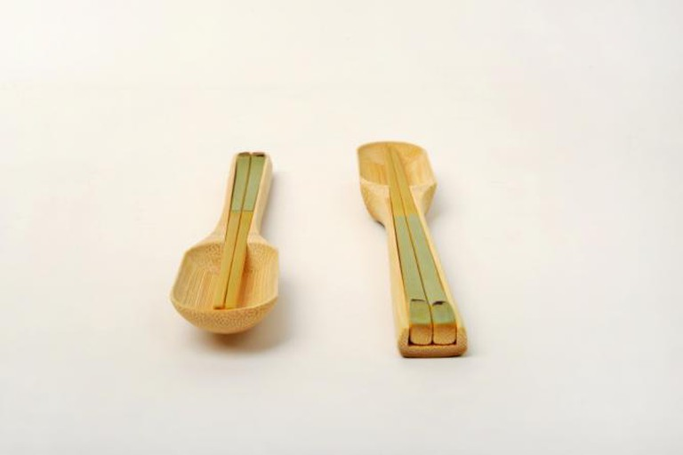 Green Bamboo Flatware Set (Bamboo Travel Utensils) | Image Courtesy of Dot Design