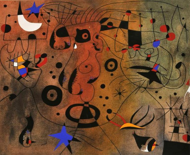 Joan Mirò, Femme à la blonde aisselle coiffant sa chevelure à la lueur des ètoiles (serie Costellations), 1959 ca., pochoir on paper, cm 36x43, 1998, donated by Arturo Schwarz | Courtesy Galleria Nazionale d'Arte Moderna