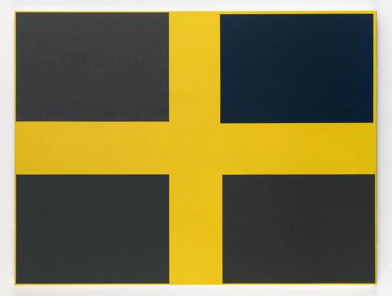 Jon Thompson, Simple Paintings – Yellow Cruiciform (Goya's Shadows), 2012/13, acrylic and oil on canvas, 155 x 205 cm