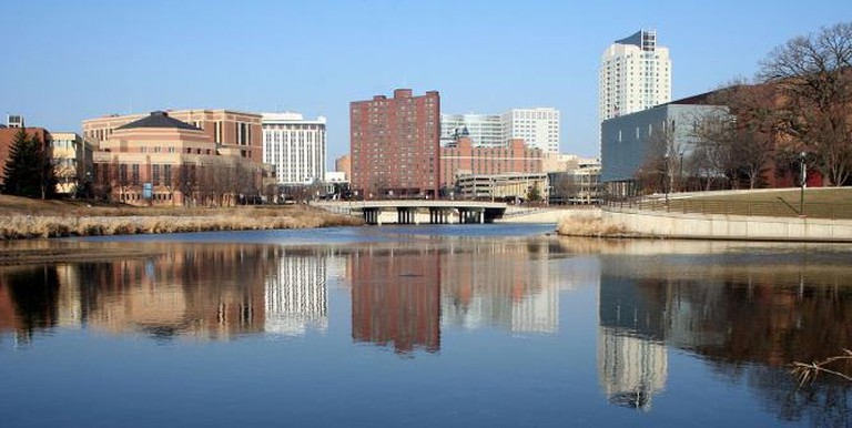 Downtown Rochester reflected in the Zumbro River