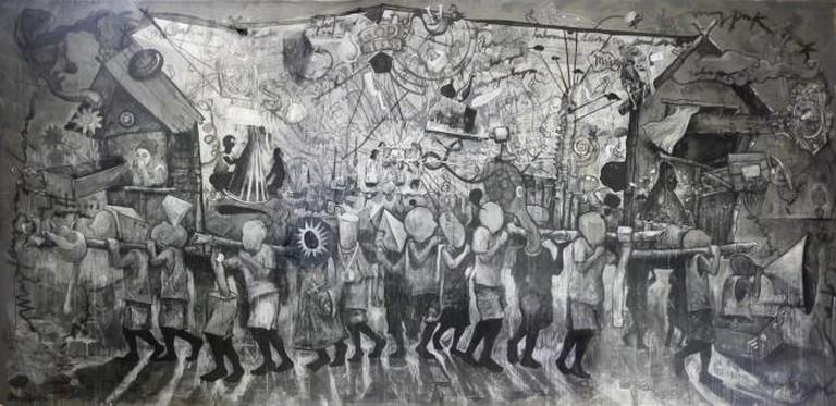 Singkupadong Kubo (syncopated Hut) , Don Salubayba, Mixed media on canvas, 200 x 414 cm, 2012   Courtesy of Tin-aw Art Gallery / Fatima Avila