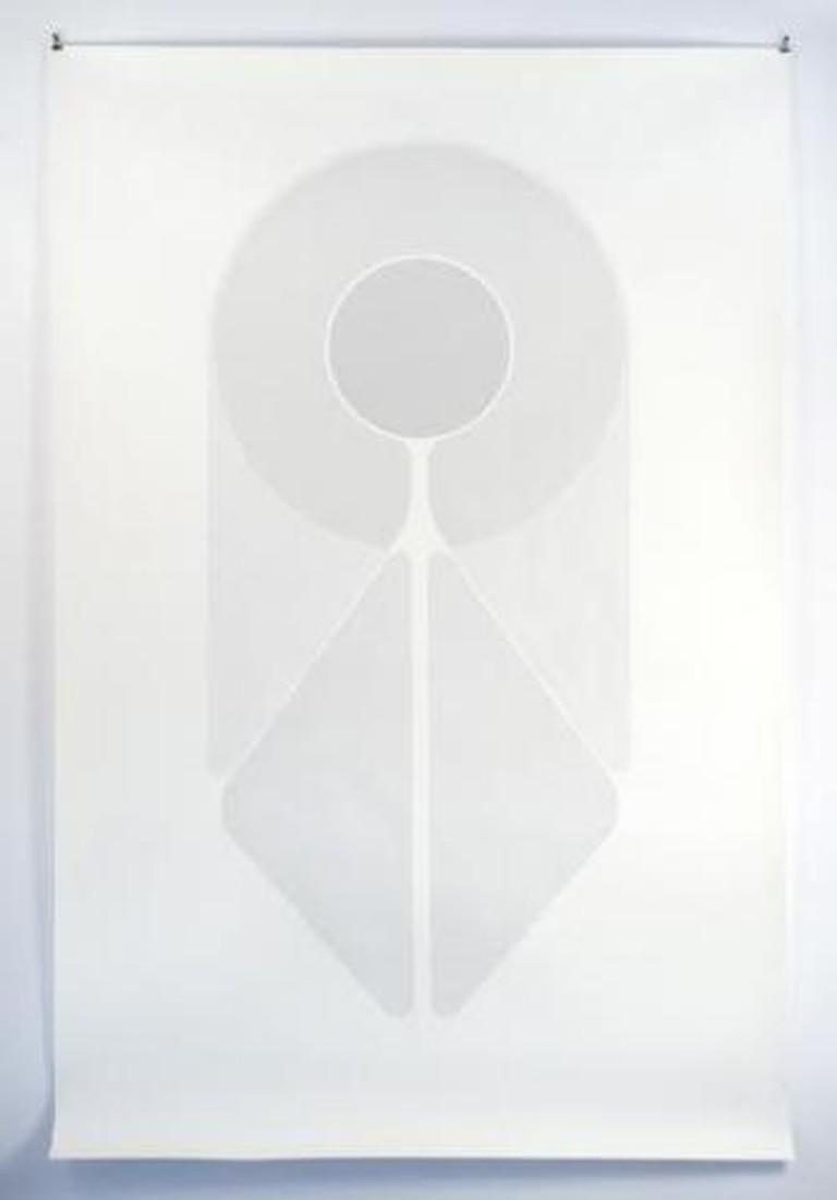 Fahd Burki, Saint, acrylic on paper, 218.44 x 139.7 cm, Grey Noise, 2011