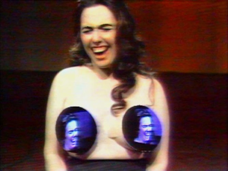 "Nam June Paik and Howard Weinberg,""Topless Cellist"" Charlotte Moorman, 1995. Video; color, sound. 29 minutes. Courtesy Electronic Arts Intermix (EAI), New York"