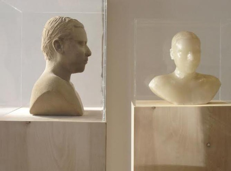 Untitled, Sand fiberglass, evaporating compound, acrylic and wood (Cast from self) 18ʺ x 24ʺ x 20ʺ (Each of 2) 2004 Private Collection, New York