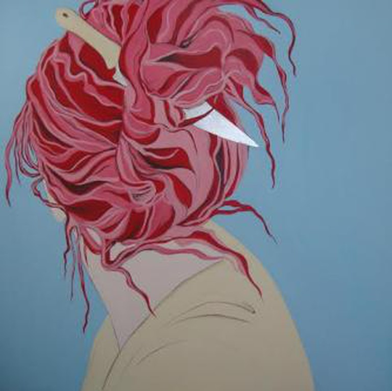 """Simin Keramati, Red Hair, 2011, from the series """"Living in Between the colors of my Flag"""", acrylics and silver leaves on canvas, 150 x 150 cm. Private collection of Mrs Mina Etemad"""