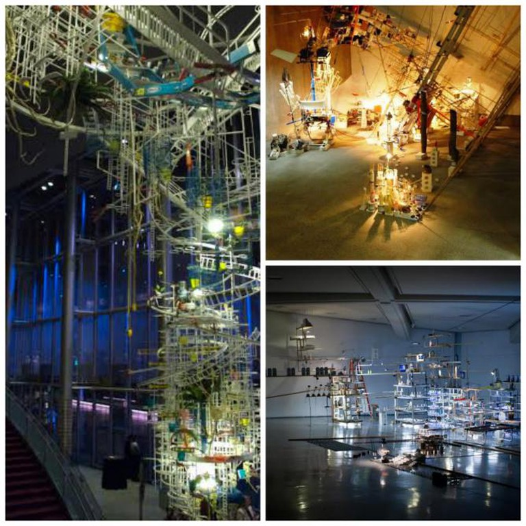Sarah Sze, An Equal and Opposite Reaction, 2007, McCaw Hall, Seattle | © Flickr/Jay d | Sarah Sze, Just Now Dangled Still, 2008, site-specific installation at Liverpool Biennial 2008 | © Flickr/John Lord | Sarah Sze, The Uncountables (Encyclopedia), 2010,mixed media, metal shelves, wood shelves, lights, plastic bottles, milk cartons, 454.7 x 1389.4 x 1242.1 cm |  © Flickr/Mitch Huang