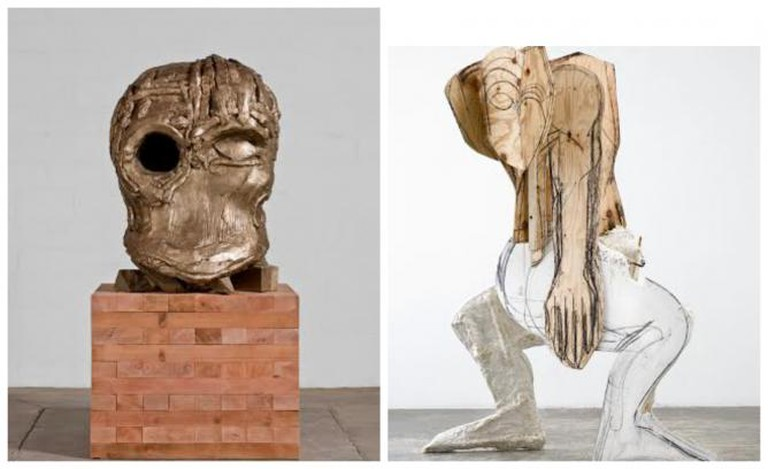 Thomas Houseago,Serpent, 2008, plaster, hemp, iron rebar, oilbar, graphite, wood 244 x 155 x 120 cm | Courtesy the Artist and Xavier Hufkens, Brussels  | Thomas Houseago, Venice Head (Cave II), 2010, bronze and Redwood, 223.5 x 109.2 x 127 cm, edition of 3 + 2 AP. Photo credit: Fredrik Nilsen, Los Angeles | Courtesy the Artist and Xavier Hufkens, Brussels