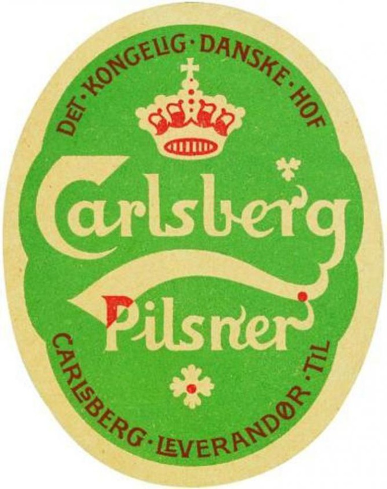 1904 Carlsberg Pilsner label designed by Thorvald Bindesbøll
