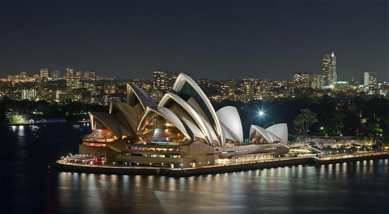 """Sydney Opera House, as viewed from the Sydney Harbour Bridge."" 