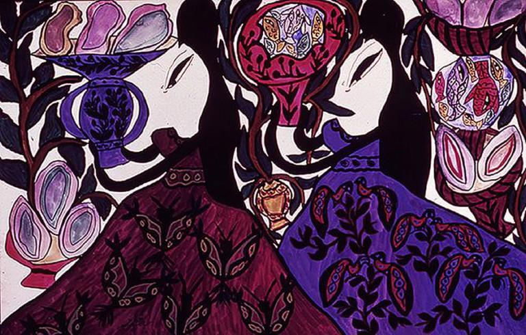 Baya Mahieddine, Femmes Portant Des Coupes. Gouache on paper
