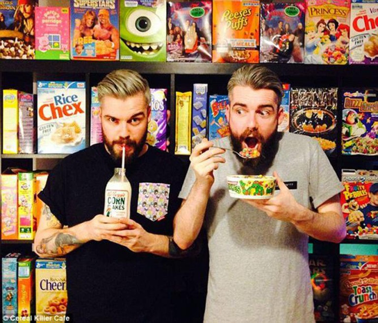 Identical twins Alan Keery (left) and Gary Keery are serious cereal enthusiasts | Courtesy of Cereal Killer Café