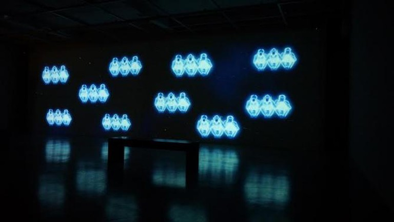 Hale Tenger, Swinging on Stars, 2013, HD video installation with audio, 2 min. 57 sec, installation view