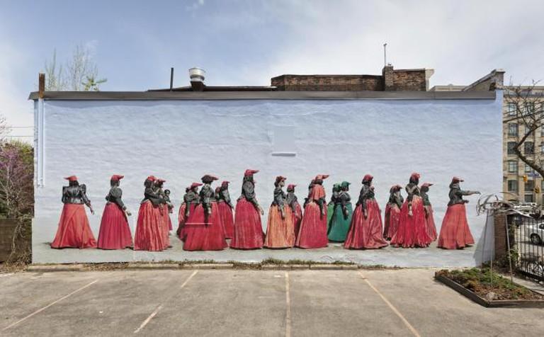 Courtyard mural installation with Jim Naughten