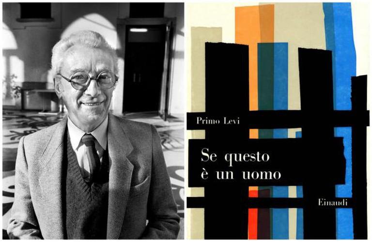 Bruno Munari 1983, portrait by Chris Moyse. Courtesy of Munart ; Bruno Munari, Original Cover of the book Primo Levi, Se questo è un uomo, Einaudi, 1958, Courtesy Einaudi Publisher.