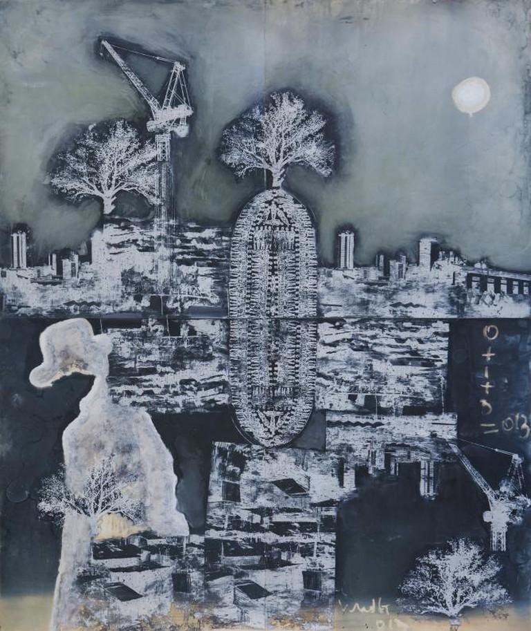 Paul Onditi, Anonymous Smokey, mixed media on digital polyester inkjet plate, 2013. Courtesy of ARTLabAfrica