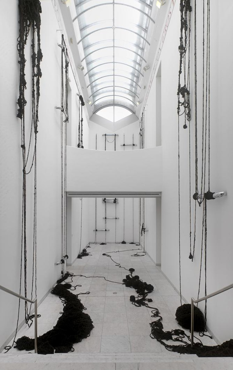 Sheela Gowda, Behold, 2009, hair, steel, dimensions variable, installation view, Museum Abteiberg, Monchengladbach, 2013| Courtesy the artist