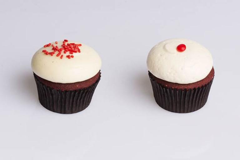 Baked Traditional Red Velvet (Left), Cinnamon Vanilla Buttercream (Right)
