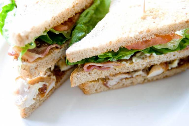 A club sandwich at Bolinat