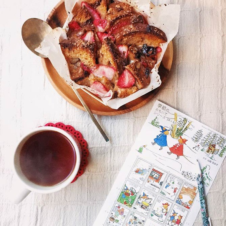 Strawberry Bread Pudding from She Who Eats