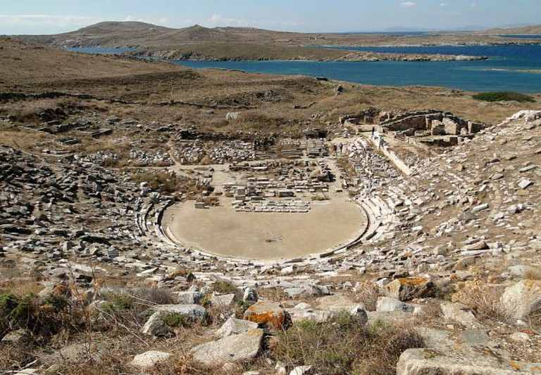 Ancient Greek theatre in Delos, Greece